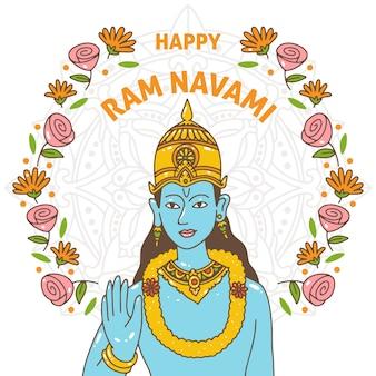 Hand-drawn ram navami celebration