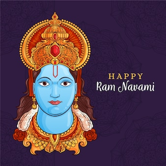 Hand drawn ram navami celebration