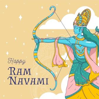 Hand-drawn ram navami concept