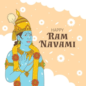 Hand-drawn ram navami design