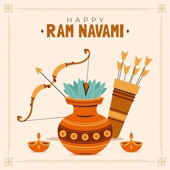 Hand drawn ram navami illustration