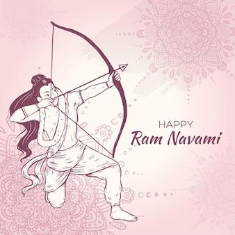 Illustrazione disegnata a mano di ram navami