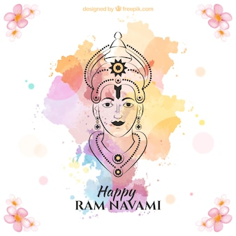 Hand drawn ram navami with colors splashes background
