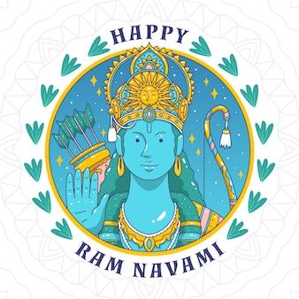 Hand-drawn ram navami