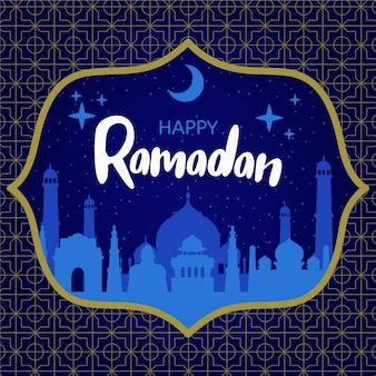 Hand drawn ramadan background with mosque