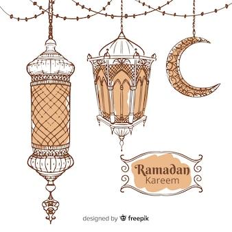 Hand drawn ramadán background