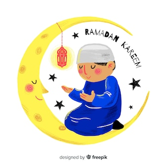 Hand drawn ramadan background