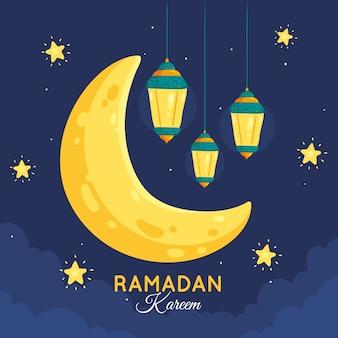 Hand drawn ramadan background