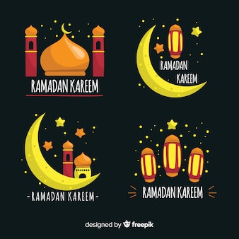 Hand drawn ramadan badge collectio