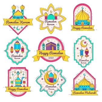 Hand drawn ramadan badge collection