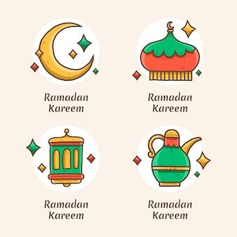Collezione di badge ramadan disegnata a mano