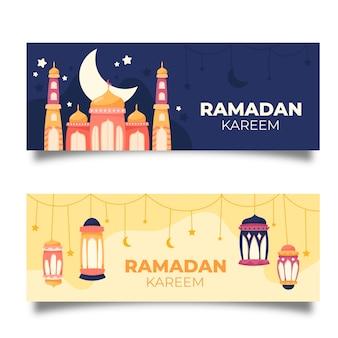 Hand drawn ramadan banner collection