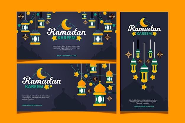 Hand drawn ramadan banners set