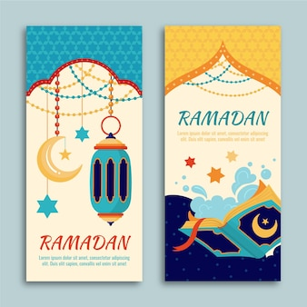 Hand drawn ramadan banners template