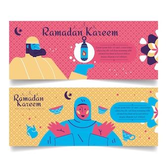 Ручной обращается рамадан баннеры