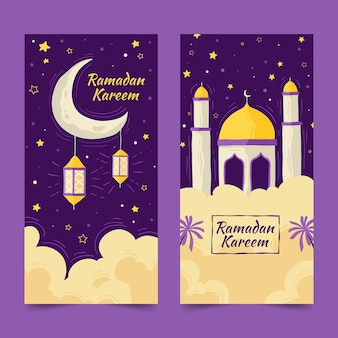 Hand drawn ramadan banners