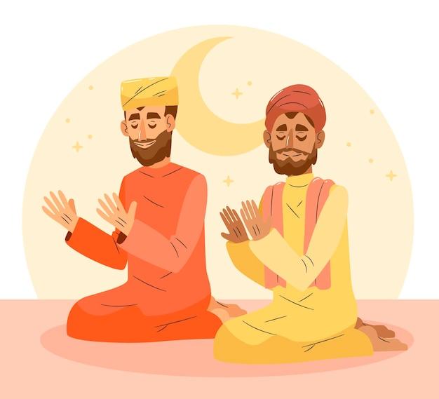 Hand drawn ramadan illustration with person praying