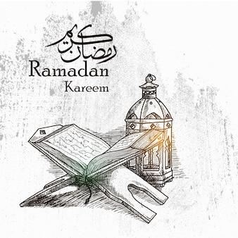 Hand drawn ramadan kareem background with traditional lantern and al quran