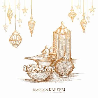 Hand drawn ramadan kareem greeting card sketch design