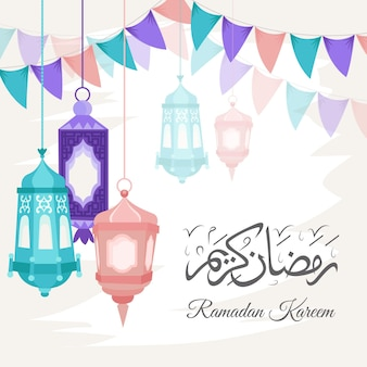 Hand-drawn ramadan kareem illustration
