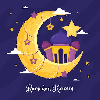 Hand drawn ramadan kareem illustration