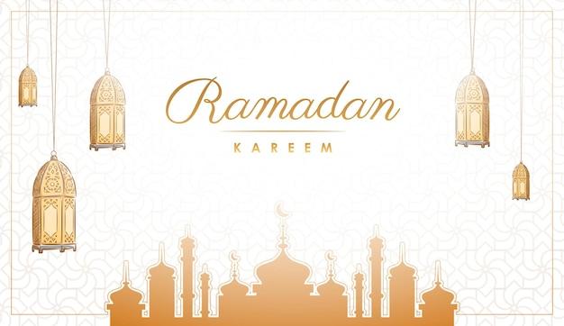 손으로 그린 라마단 카림 이슬람 배경 디자인