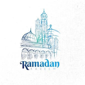 Hand drawn ramadan kareem  mosque