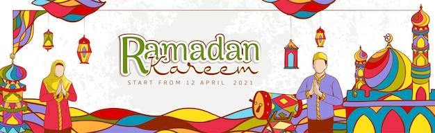 Banner di vendita ramadan kareem disegnato a mano con ornamento islamico colorato su grunge texture
