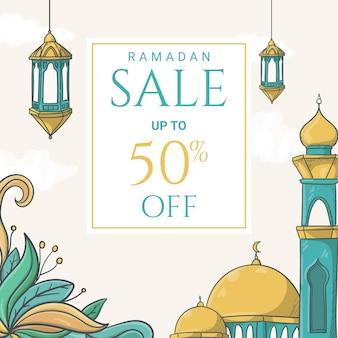 손으로 그린 이슬람 장식 일러스트와 함께 라마단 카림 판매 배너