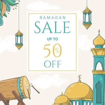 Ручной обращается баннер продажи рамадан карим с иллюстрацией исламского орнамента