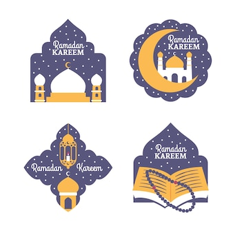 Hand-drawn ramadan label collection design