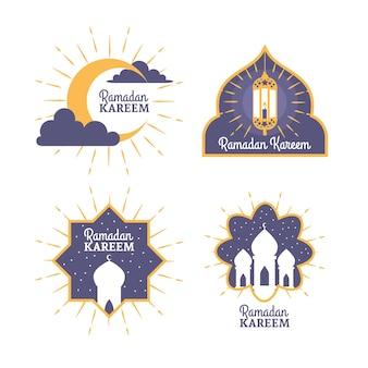 Hand-drawn ramadan label collection theme
