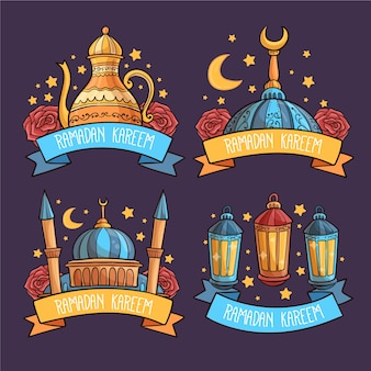 Hand-drawn ramadan label collection