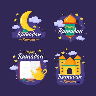 Hand drawn ramadan label collection