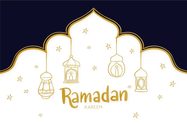 Hand-drawn ramdan celebration theme