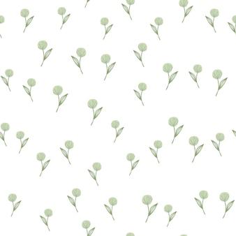 Hand drawn random dandelion seamless pattern on white background.