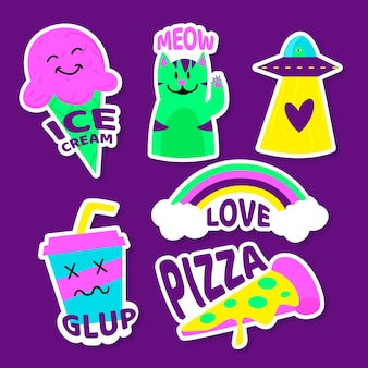 Hand drawn random stickers in acid colours