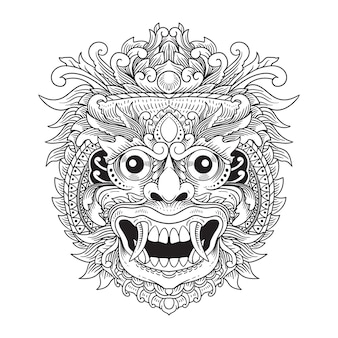 手描きランダバリイラスト線画白黒