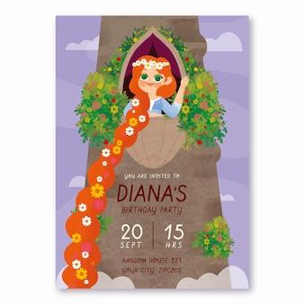 Modello di invito di compleanno di rapunzel disegnato a mano