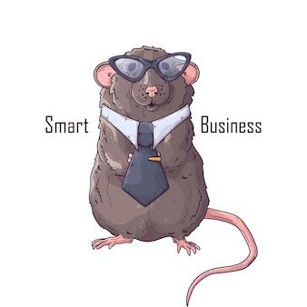 Рука нарисованные крыса с галстуком