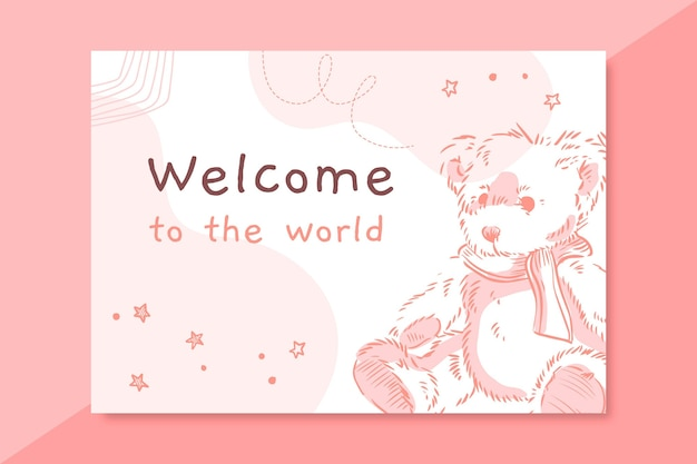 Hand drawn realistic baby card template
