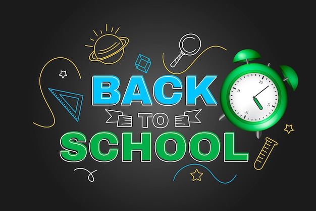 Hand drawn and realistic back to school background