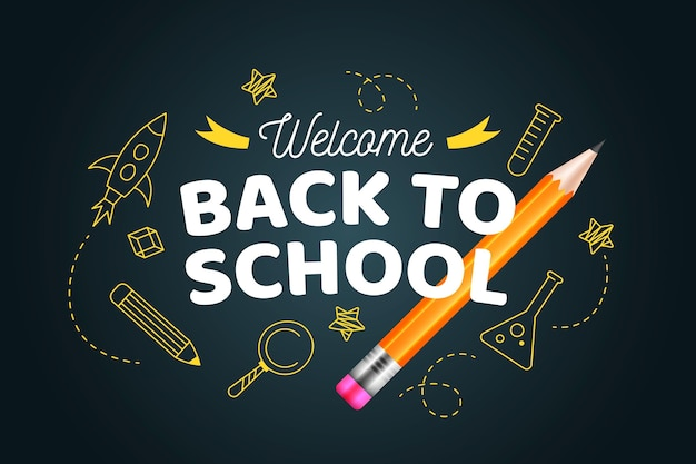 Hand drawn and realistic back to school wallpaper