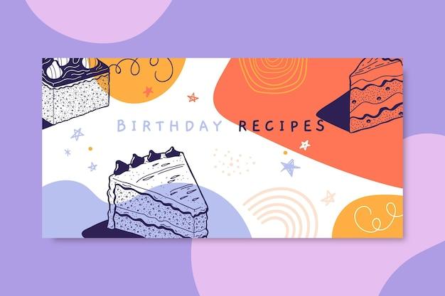 Intestazione del blog di compleanno realistico disegnato a mano