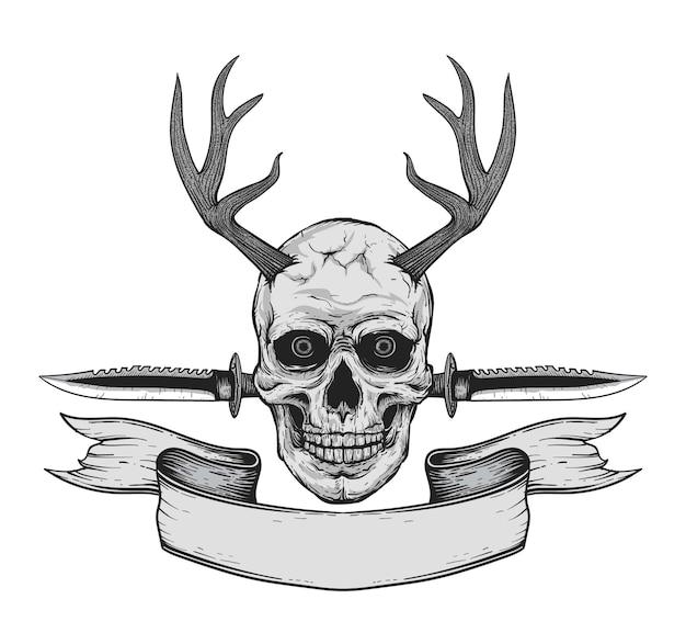 사슴 뿔과 군용 칼로 손으로 그린 현실적인 흑백 인간의 두개골