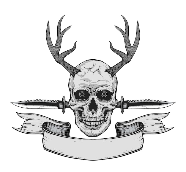 Hand drawn realistic black and white human skull with deer antlers and army knife