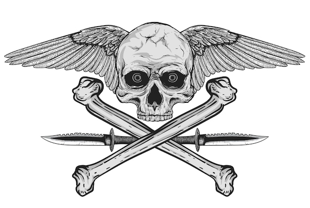 Hand drawn realistic black and white human skull with wings and army knife
