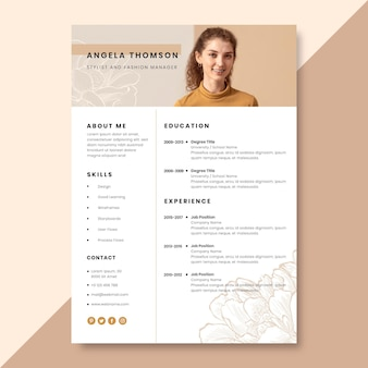 Hand-drawn realistic fashion resume template