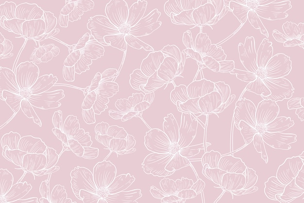 Hand drawn realistic floral background