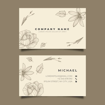 Hand-drawn realistic floral business card template
